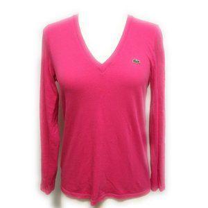 LACOSTE Hot Pink Long Sleeve V Neck Tee Shirt 32 0
